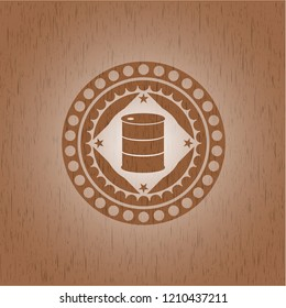barrel icon inside wood emblem. Vintage.