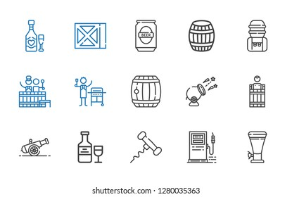 barrel icons set. Collection of barrel with beer, gas station, corkscrew, wine, cannon, gas, water tank. Editable and scalable barrel icons.