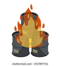 Barrel of oil. Burning fossil fuels. Petroleum packaging. Fire in gasoline Tank. Resource crisis. Accident and flames. Cartoon flat illustration