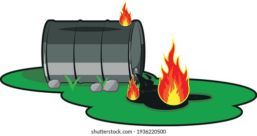 Barrel of oil. Burning fossil fuels. Petroleum packaging. Fire in gasoline Tank