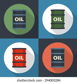 Barrel oil round icon flat style with long shadows.