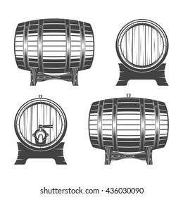 Barrel on a white background, vector illustration for menu, label and poster / Wooden barrel set