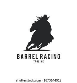 barrel racing horse logo vector