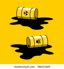 Barrel with radioactive and toxic substance is spilled. Leak of radioactivity and toxicity, contamination and pollution of environment because of environmental accident. Vector illustration