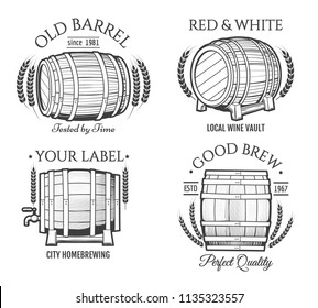 Barrel retro emblems. Vector old barrels kegs logo set, vintage wooden cask labels for wine, crafted beer and whiskey distillery isolated on white