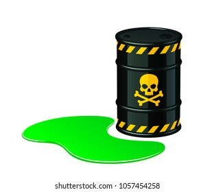 Barrel of toxic waste. Toxic waste vector illustration