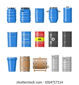 Barrel vector oil barrels with fuel and wine or beer barreled in wooden casks illustration alcohol barreling in containers or storage set isolated on white background