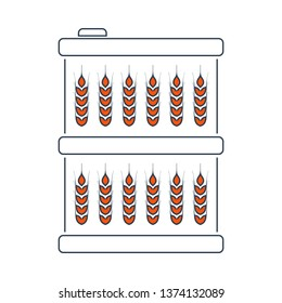 Barrel With Wheat Symbols Icon. Thin Line With Red Fill Design. Vector Illustration.