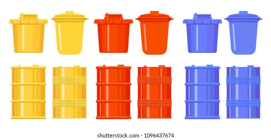Barrels and buckets in the style of flat. Colorful icons. Yellow, red, blue. Metal and plastic containers for water, oil, garbage, radioactive waste