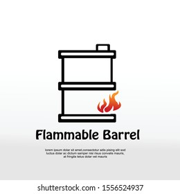 Barrels for flammable liquids, oil or biofuel, explosive chemicals, dangerous substances isolated icon vector. Fuel containers with fire symbols, gasoline. Drams outline, hazardous cargo.