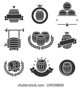 Barrels label collection set. Vector