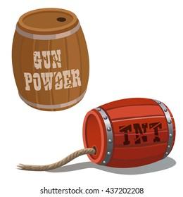 The barrels of TNT and gunpowder. Vector.