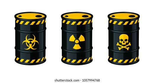 Barrels of waste vector illustration. Biohazard waste, Radioactive waste, Toxic waste.
