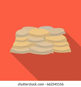 Barricade of bags of sand.Paintball single icon in flat style vector symbol stock illustration web.