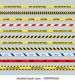 Barricade tape design element vector set. Police line, crime scene, caution, danger, under construction seamless tapes collection.