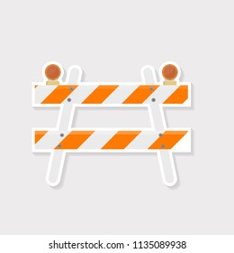 Barricade is a temporary structure that is built across a road, gate, or door to prevent people from getting through.white Orange barricade with sticker design.