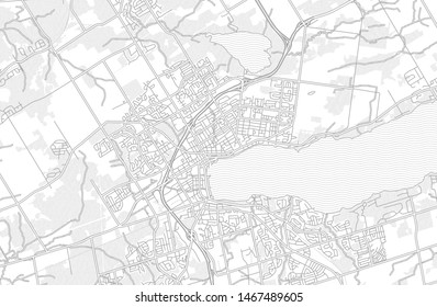 Barrie, Ontario, Canada, bright outlined vector map with bigger and minor roads and steets created for infographic backgrounds.