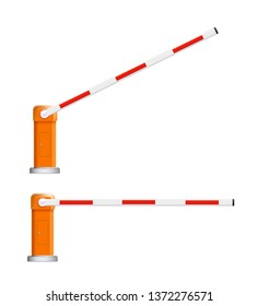 Barrier flock. Detailed illustrations of open and closed red and white automotive barriers. Vector illustration EPS 10.