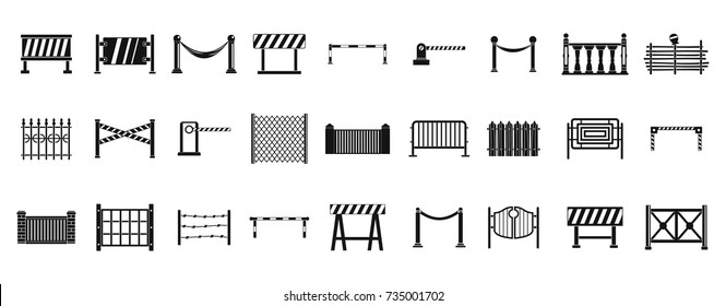 Barrier icon set. Simple set of barrier vector icons for web design isolated on white background