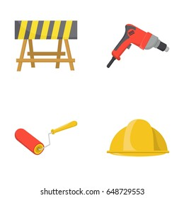 A barrier on the construction site, an electric drill, a roller for painting and a helmet. Build and repair set collection icons in cartoon style vector symbol stock illustration web.