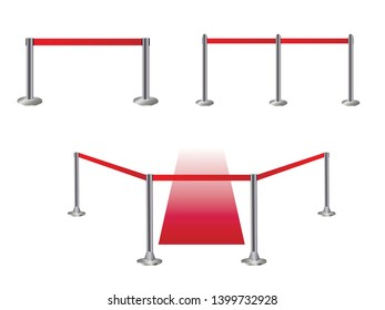 Barrier barrier on white, red fence, vector illustration of metal fencing.
