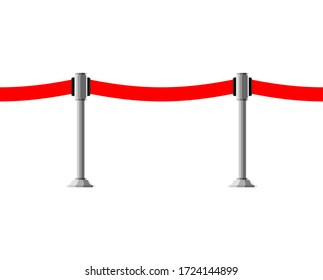 Barrier red fence ribbon horizontal pattern seamless. vector ornament