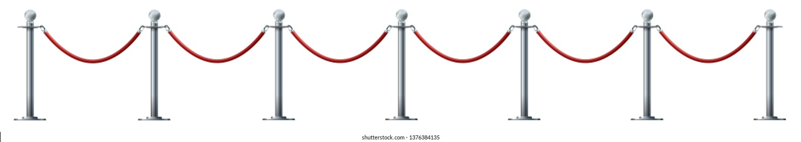 Barrier rope isolated on white. Silver luxury VIP concept 3d render.Red rope for exhibition pavilions and auto shows Vector illustration EPS 10.