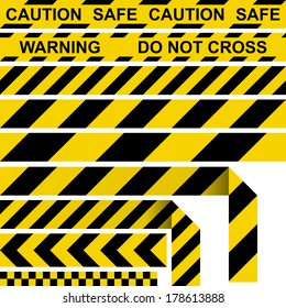 Barrier tape. Restrictive tape yellow and black colors.