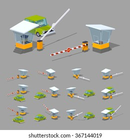 Barrier, toll booth and green car. 3D lowpoly isometric vector illustration. The set of objects isolated against the grey background and shown from different sides