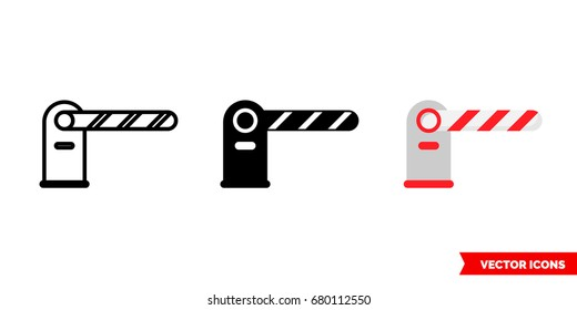 Barrier, Toll road icon of 3 types: color, black and white, outline. Isolated vector sign symbol.