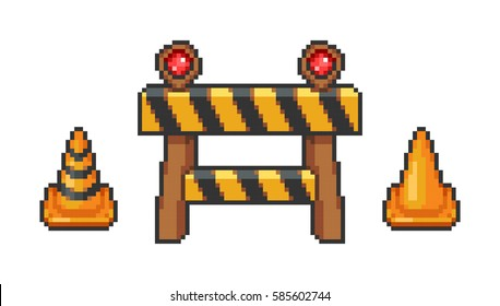 Barrier and traffic cone set pixel style - isolated vector illustration