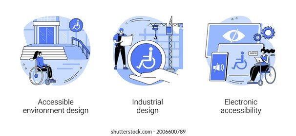 Barrier-free environment abstract concept vector illustration set. Accessible environment design, industrial product usability and ergonomics, electronic accessibility for disabled abstract metaphor.