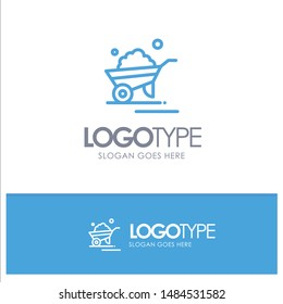 Barrow, Garden, Trolley, Truck, Wheelbarrow Blue outLine Logo with place for tagline. Vector Icon Template background