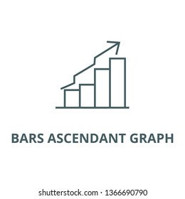 Bars ascendant graph line icon, vector. Bars ascendant graph outline sign, concept symbol, flat illustration