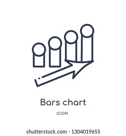 bars chart interface ascending icon from user interface outline collection. Thin line bars chart interface ascending icon isolated on white background.