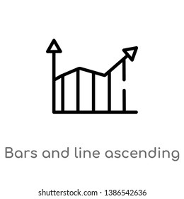 bars and line ascending of data analytics vector line icon. Simple element illustration. bars and line ascending of data analytics outline icon from user interface concept. Can be used for web