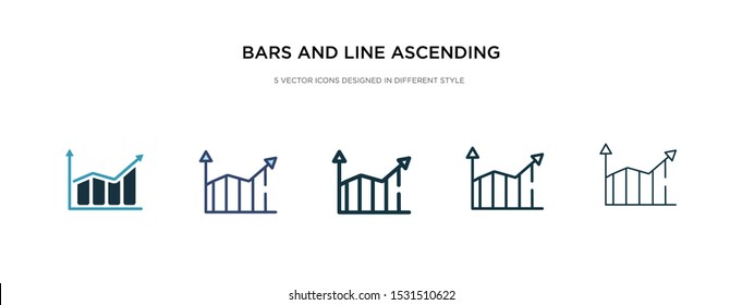 bars and line ascending of data analytics icon in different style vector illustration. two colored and black bars and line ascending of data analytics vector icons designed in filled, outline, line