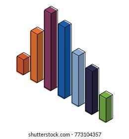 bars statistics isometric financial graph