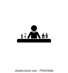 bartender behind the bar icon. Alcohol  element icon. Premium quality graphic design icon. Baby Signs, outline symbols collection icon for websites, web design, mobile app on white background