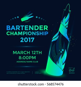 Bartender championship poster template design with flair bottle. Vector illustration