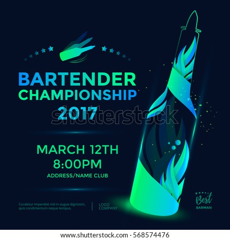 bartender championship poster template design flair のベクター画像