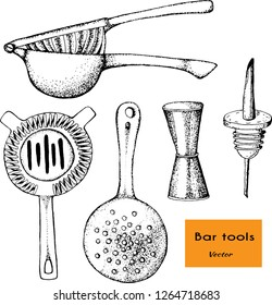 Bartender equipment for making cocktail. .Food and beverages concept.Vector hand drawn illustration.Bar tools. Bar accessories.Julep strainer,juicer,jigger,pourer,strainer.