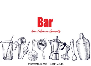 Bartender equipment for making cocktail.Hand drawn illustration.Bar tools. Bar accessories.Stirring spoon, knife,juicer,muddler,pitcher,jigger,strainer,shaker.
