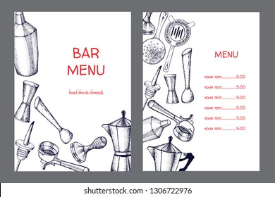 Bartender equipment for making cocktail.Hand drawn illustration.Bar tools. Bar accessories.Stirring spoon, knife,juicer,muddler,pitcher,jigger,strainer,shaker.Menu.