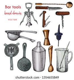 Bartender equipment for making cocktail.Hand drawn colorful vector illustration.Bar tools. Bar accessories.Stirring spoon, knife,juicer,muddler,pitcher,jigger,strainer,shaker.