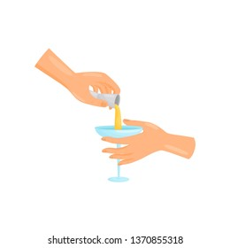Bartender hand pouring a jigger cocktail into a glass. Vector illustration.