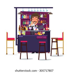 bartender man with bar and cocktail. character design - vector illustration