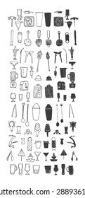 Bartender stuff. Big hand drawn collection. Vector. Isolated.