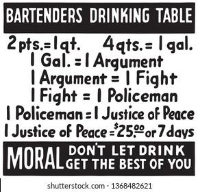 Bartenders Drinking Table - Retro Ad Art Banner