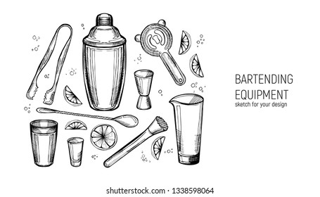 Bartending Equipment set. Shaker, jigger, spoon, mixing glass, muddler, Strainer, ice tongs. Hand drawn sketch.